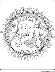 Coloring Page Aztec Design