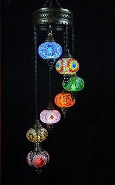 Turkish Moroccan Handmade 7 Balls Multicolor Mosaic Chandelier