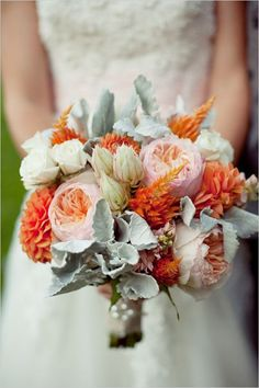 Color Palette #2--similar to #1 but having deeper orange/rust tones; the dark blue and butterscotch would be beautiful added to this bouquet; also the champagne instead of the bright white