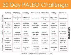 Diary of a Fit Mommy | 30 Day Paleo Challenge. Come with free meal plan printables!