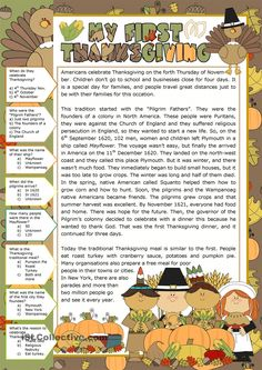 A collection of English ESL Thanksgiving worksheets for home learning, online practice, distance learning and English classes to teach about Esl Lessons, English Lessons, Learn English, English Class, English Fun, Thanksgiving Worksheets, Thanksgiving Crafts, English Activities, Reading Activities