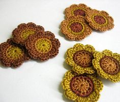 Handmade cotton flower motifs appliques in brown shades 1,4 inches set of nine by kikamoracrafts,