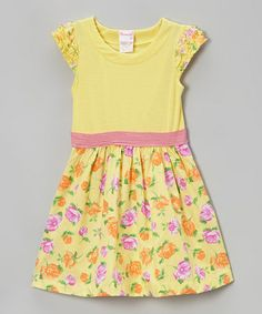 Love this Yellow Floral Ruffle Cap-Sleeve Dress - Toddler & Girls by Nannette on #zulily! #zulilyfinds