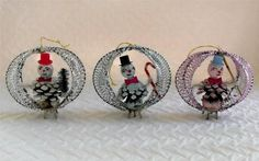 Three vintage spun cotton-pine cone snowman wire-tinsel Christmas ornaments pink | eBay