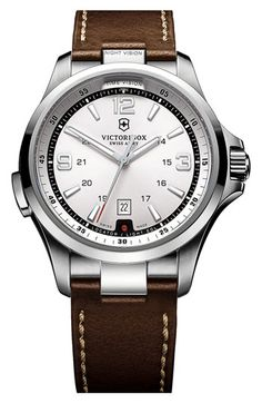 Victorinox Swiss Army® 'Night Vision' Leather Strap Watch available at Nordstrom