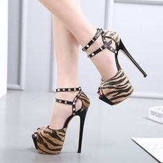Shoespie Sexy Peep Toe Double Ankle-Wrap Platform Heels