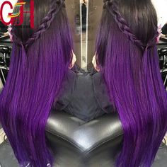 Cheap hair extensions natural hair, Buy Quality hair clip human hair directly from China hair lavender Suppliers: Ombre Hair Extensions Straight Mink Brazilian Virgin Hair Straight Two Tone Ombre Purple Brazilian Hair Free S Black Hair Ombre, Purple Hair, Ombre Hair, Purple Ombre, Dope Hairstyles, Pretty Hairstyles, Brazilian Lace Front Wigs, Brazilian Hair, Beautiful Hair Color