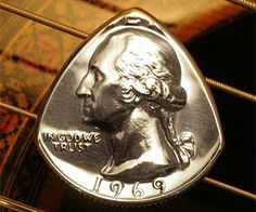 These unique guitar picks are fashioned out of real quarters featuring none other than the first President of the United States of 'Murica. George Washington cannot tell a lie, but he can melt your face off when his face is properly attached to set of electric guitar strings. Buy It $10.00 via Etsy.com