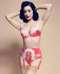 LA burlesque dancer, Dita Von Teese models her von follies lingerie line. See the latest items to be added to this beautiful lingerie collection. Belle Lingerie, Sexy Lingerie, Lingerie Retro, Dita Von Teese Lingerie, Lingerie Rouge, Beautiful Lingerie, White Lingerie, Luxury Lingerie, Fashion Lingerie