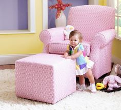 pretty pink chair and ottoman!