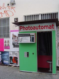 ღღ One pinner said: One of my favorite things about Berlin: the fact that they have photo booths from the '60s all throughout the city. Makes for a fun and cheap souvenir!