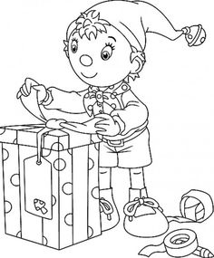 Christmas Elves Wrap To Gift Coloring Page