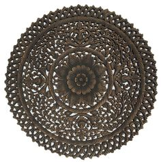 "Elegant Medallion Wood Carved Wall Plaque. Round Wood Carved Floral Wall Art. Asian Wood Carving Wall Panels. Lotus Wall Hangings. Carved Wood Wall Decor. 36""x36""x0.5"" Available in Black Wash and Brown"