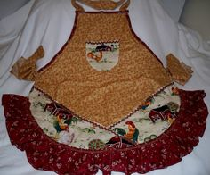 Barnyard Chickens Apron by whimseycottage on Etsy, $25.00