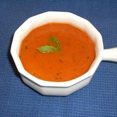 Creamy Tomato-Basil Soup Allrecipes.com..Syd made this last night...YUMMO! fresh tomatoes, basil from the garden...parm cheese shredded on top..WOW!