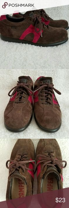 Camper Brown Suede Pelotas Lace Up Trainer 39/9 US A nice pair of Camper Oxford Trainer Sneakers brown & pink gently worn. Camper Shoes Sneakers