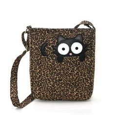Sleepyville Critter Peeping Back Cat on Leopard Canvas Messenger Bag #SleepyvilleCritter #MessengerCrossBody
