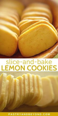 Low Unwanted Fat Cooking For Weightloss Lemon Slice-And-Bake Cookies-These Delicious Homemade Lemon Slice-And-Bake Cookies Are Very Light And Easy To Make If You Are A Lemon Lover, You Should Try These From Scratch Lemon Cookies. Lemon Dessert Recipes, Köstliche Desserts, Sweet Recipes, Baking Recipes, Cookie Recipes, Delicious Desserts, Yummy Food, Lemon Cookies, No Bake Cookies