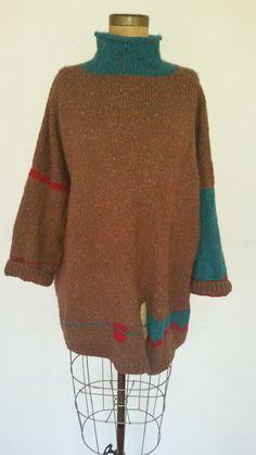 27e01779af1 80 s Sweater Vintage Hand Knit Oversize Boxy Pullover 1980 s Wool Knit  Slouchy Artsy Boho Turtleneck Small