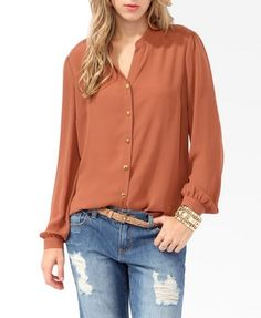 Lace Panel Button Up | FOREVER 21 - 2025101045