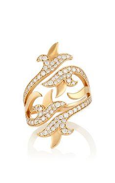 White diamond french tulip double bi-pass ring by SARA WEINSTOCK Preorder Now on Moda Operandi