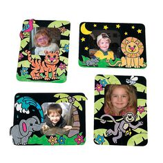 Color Your Own Safari Fuzzy Picture Frame Magnets - OrientalTrading.com