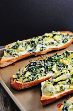 Spinach Artichoke Bread Recipe -Such an awesome appetizer or light lunch! So delicious! from addapinch.com