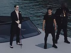 Jared leto as the joker, skrillex and rick ross in purple lamborghini