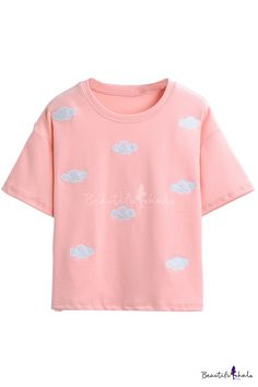 Cute Cloud Embroidery Short Sleeve Round Neck Tee