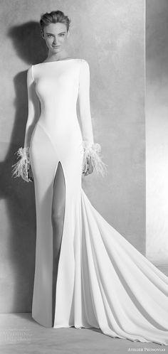 atelier pronovias 2017 (nuria) long sleeves bateau neck slit skirt sheath wedding dress mv