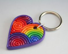 Rainbow Heart Keychain in Fimo Filigree by StarlessClay on Etsy, $10.00
