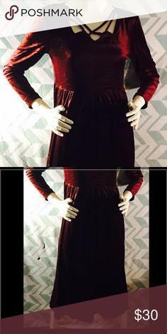 """Vintage gorgeous maroon velvet dress Very 90's goth style! This dress would fit right in with today's styles! Gorgeous deep red velvety material (100% polyester) with a lovely criss cross strappy top. Tag says size 8, and the fabric does offer some stretch. The bust and waist have the same measurements: 18"""" flat, 21"""" stretched. The skirt is 33"""" long. This also has shoulder pads, but I think they are the kind that can be easily removed. EUC! Urban Outfitters Dresses"""