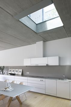 contemporary kitchen design with skylight