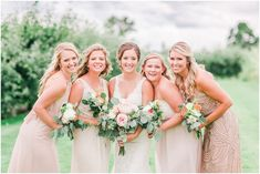 Gold, blush, and tan mismatched bridesmaids dresses with peony bouquets. Chance & Gracia's Rustic Blush Wedding at Swans Trail Farms in Snohomish, Washington. Photography by Rachel Howerton Photography.