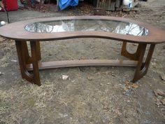 vintage jolie forme ère eames mi siècle Bello meubles freeform rein bois et…