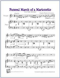 Funeral March of a Marionette | Free Sheet Music for Trumpet - http://makingmusicfun.net/htm/f_printit_free_printable_sheet_music/march-of-a-marionette-trumpet.htm