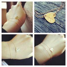 Personalized Sideways Heart Layered Bracelet