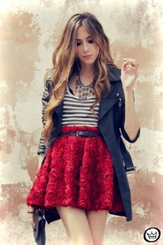 red skirt, striped bluse, and black coat ~ <3