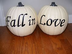 """Cute fall decorations. Maybe put the """"in"""" on a tiny orange pumpkin."""