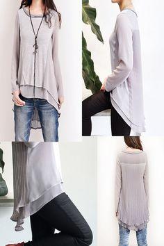 Gossamer - zen layering cotton tunic / chiffon tunic top / boho patchwork blouse / short sleeve chiffon tunic / asymmetrical top (Y5121)