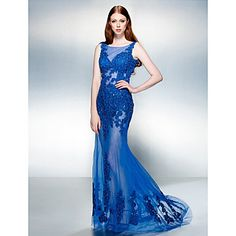 A-line Jewel Sweep/Brush Train Lace And Tulle Evening Dress (1798989) – EUR € 118.17