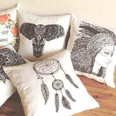 Set of 5 Decorative Pillow, Teen Room Décor, Dreamcatcher, Mandala, Elephant, Floral Roses, Native American Girl Pillow Set, #párna Párna - Ajándék - Kreatív - Színező - Színezős párna