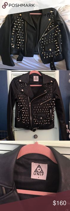 UNIF Leather Moto Jacket with Spikes Loveee this Moto Jacket by one of my fav brands but it's a little snug on me and I just have never worn it other than a couple times. It looks brand new! Minor wear near zipper seam on jacket arms. Feel free to send an offer 💕 UNIF Jackets & Coats Utility Jackets