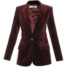 Freda Velvet blazer ($354) ❤ liked on Polyvore featuring outerwear, jackets, blazers, coats, tops, velvet blazers, red velvet jacket, fitted jacket, long sleeve jacket and burgundy velvet blazer