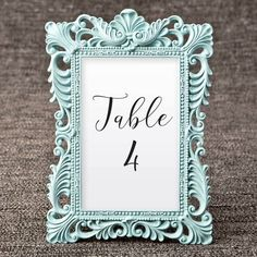 Teal Picture Frames for Table Numbers - 4 x 6 Size