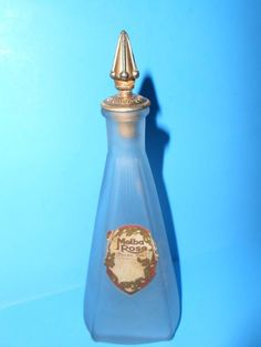 C. 1915 MELBA MFG. CO. CHICAGO ILL ROSE PERFUME BOTTLE, EXC. COND. RARE!
