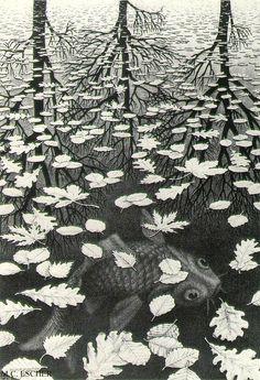 M.C. Escher, Three Worlds, 1955