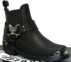 Grinders Mens Black Biker Classic Style Cowboy Boots Eagle Lo Real Western Leather Boots