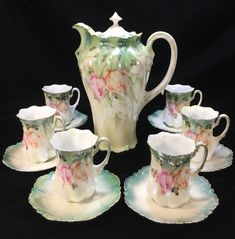 Antique RS PRUSSIA Green/Pink/Orange Iridescent 13-Piece 'TULIPS' CHOCOLATE SET - Chocolate Pot, Chocolate Cups & Saucers