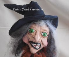 OOAK Paper Clay Witch Sculpture Elsbeth by by CedarCreekPrimitives